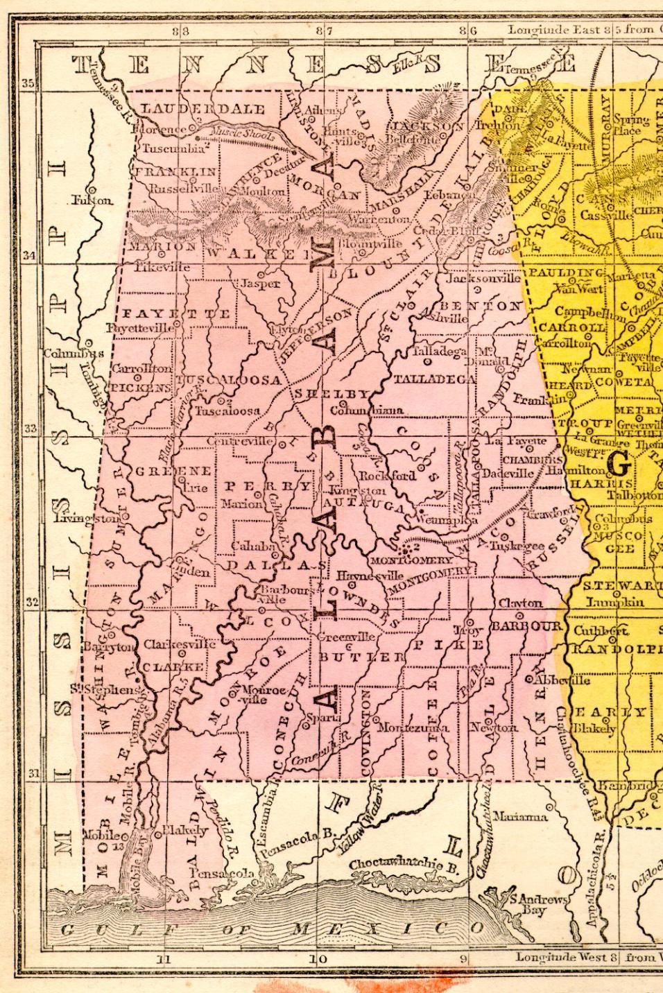 1851 Alabama State Map
